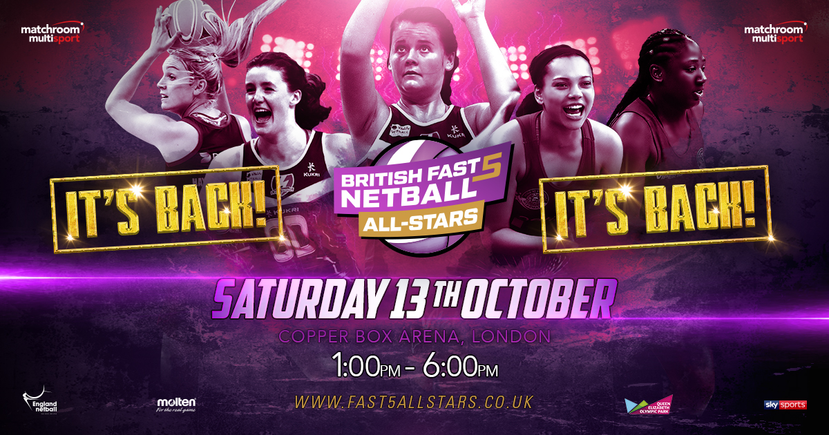British Fast5 Netball All-Stars Championship Returns October 13